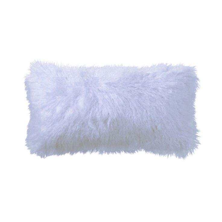 Light Grey Tibetan Lamb Pillow with Light Grey Velvet Backing
