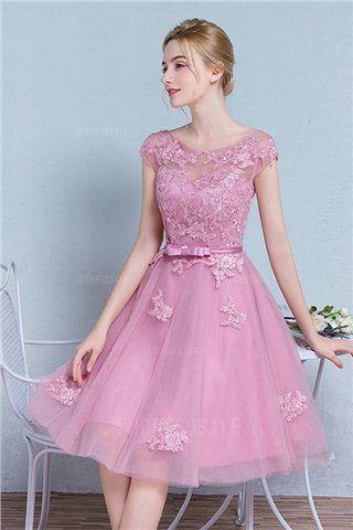 A-Line/Princess Jewel Knee-length Tulle Lace Prom Dress