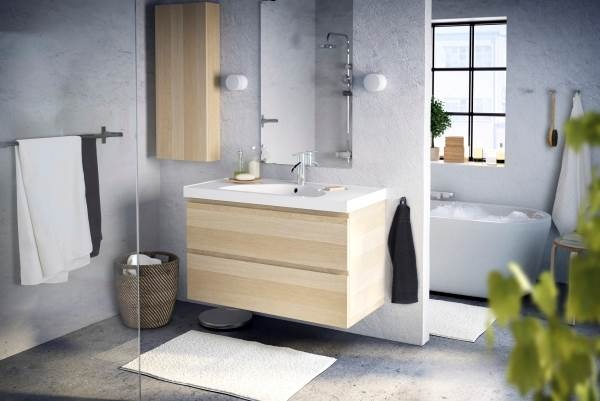GODMORGON floating cabinets look great in any bathroom.
