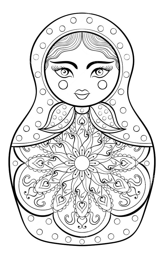 Pin By Carrie Delgadillo On Blackline Matryoshka Doll Drawing
