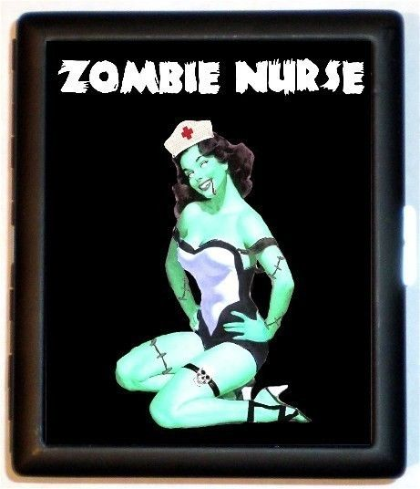 Zombie Pinup Pin Up Nurse Psychobilly Goth Gothic Dark Art Cigarette Id Case Business Card Holder Wallet