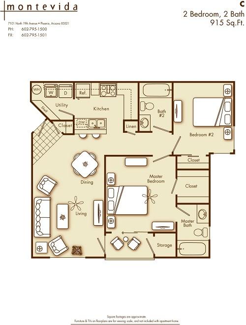 bedroom 2 bathroom apartment home in phoenix az 85021 cross