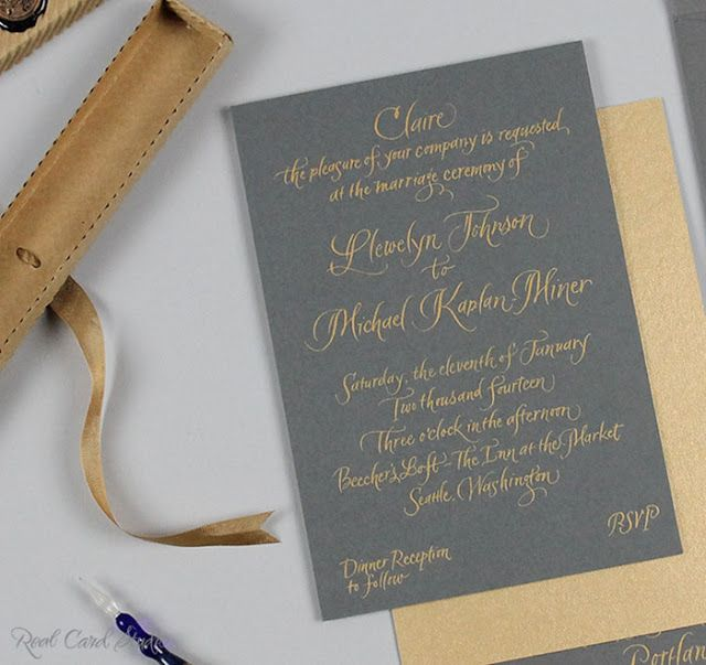 Personalized And Individually Hand Calligraphed Invitations In Gold Ink On Gray Card For An Intimate Wedding By Real Studio Calligraphy Ka