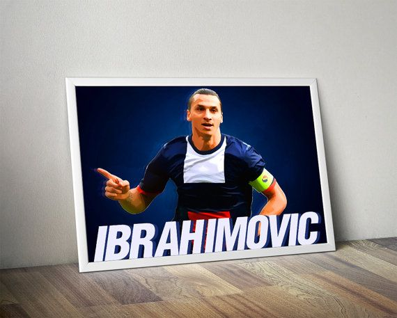 Zlatan Ibrahimovic PSG paris saint german Poster wall art decorative decor home decor printable wall art design soccer design kid's room badroom gift ideas gift soccer football champions league europan league world cup by Cloudprintshop