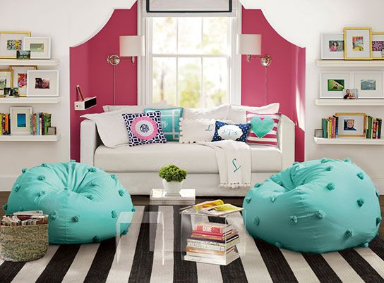 love the color combination for a teen bedroom or