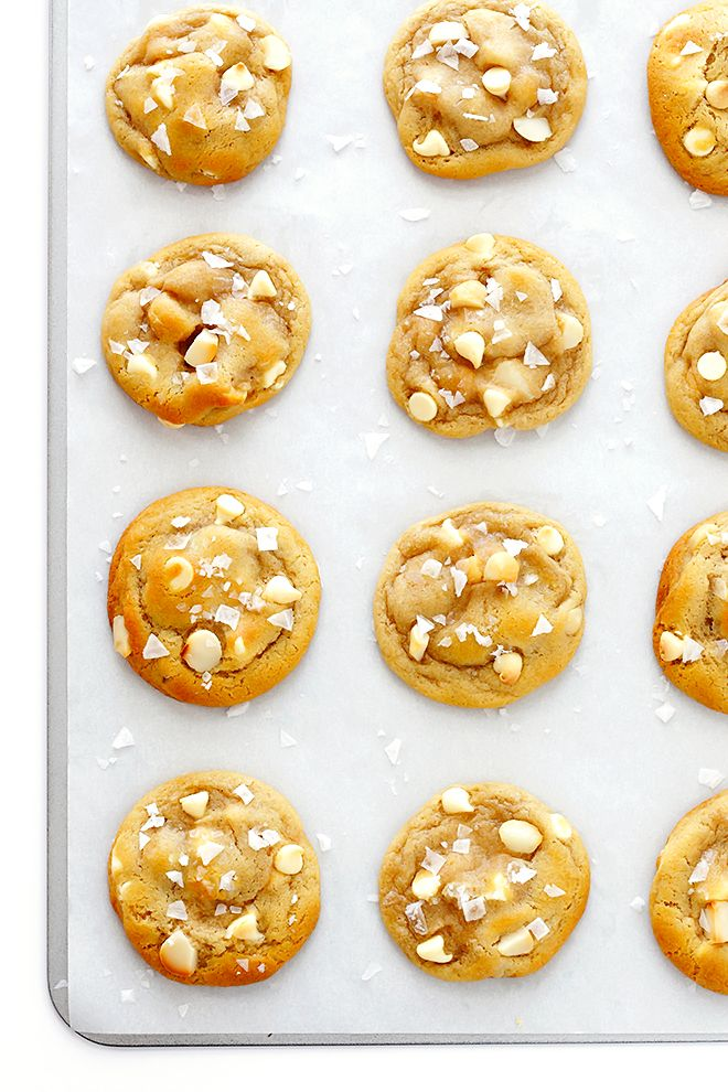 This Salted White Chocolate Macadamia Nut Cookies recipe makes the most delicious soft and chewy cookies, sprinkled with a pinch of sea salt!
