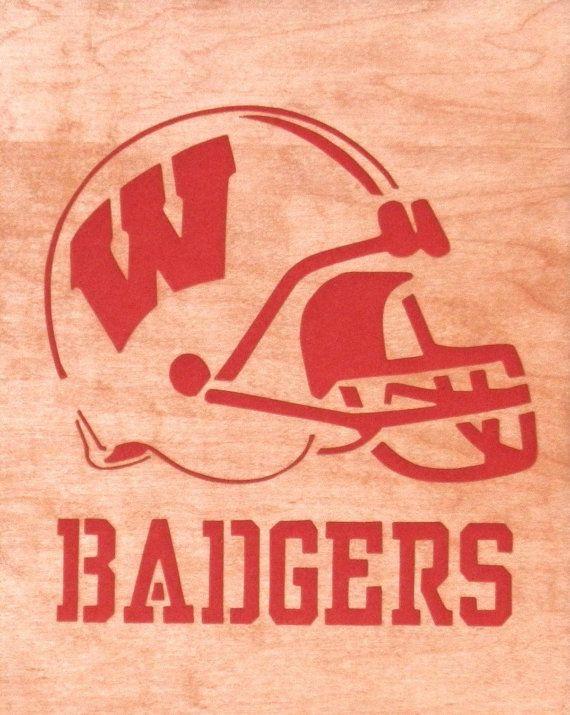 Wisconsin Badgers Footbal Helmet Plaque  Free by ScrollSawDecor