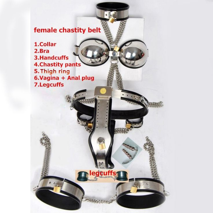 ==> [Free Shipping] Buy Best 8pcs/set stainless steel female chastity belt slave collar hand ankle cuffs thigh ring vagina anal plug bdsm bondage fetish wear Online with LOWEST Price | 32573360253