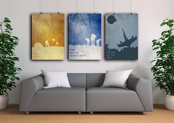 Imprimer l'Art STAR Wars, Star wars, lot de Poster, star Wars, affiche d'Art minimaliste, Unique d'anniversaire cadeau petit ami, Home Decor, bureau illustration