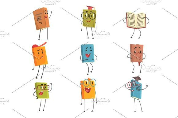 Cute Humanized Book Emoji Characters Representing Different Types Of Literature, Kids And School Books  @creativework247