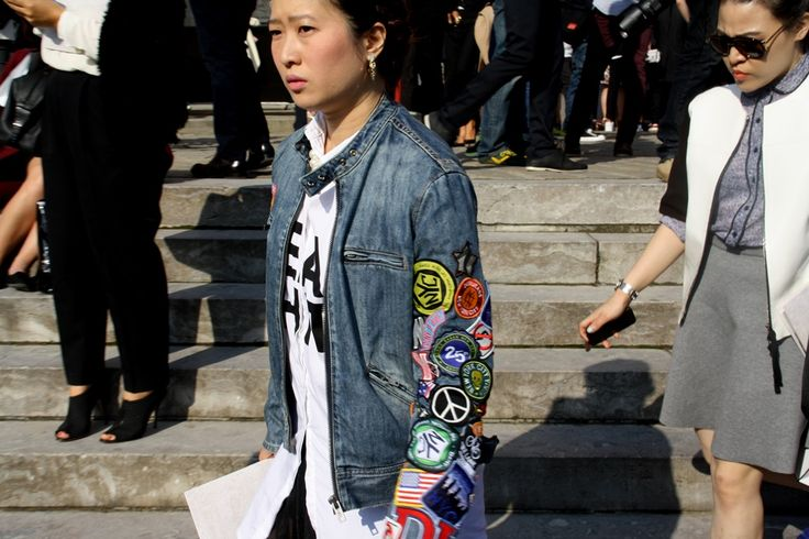 Customised denim at Chanel. Paris Fashion Week Streetstyle, by Lois Spencer-Tracey of Bunnipunch