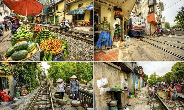 Door-to-door service: Railway line runs through narrow Vietnam streets...like really, really narrow! That's insane!