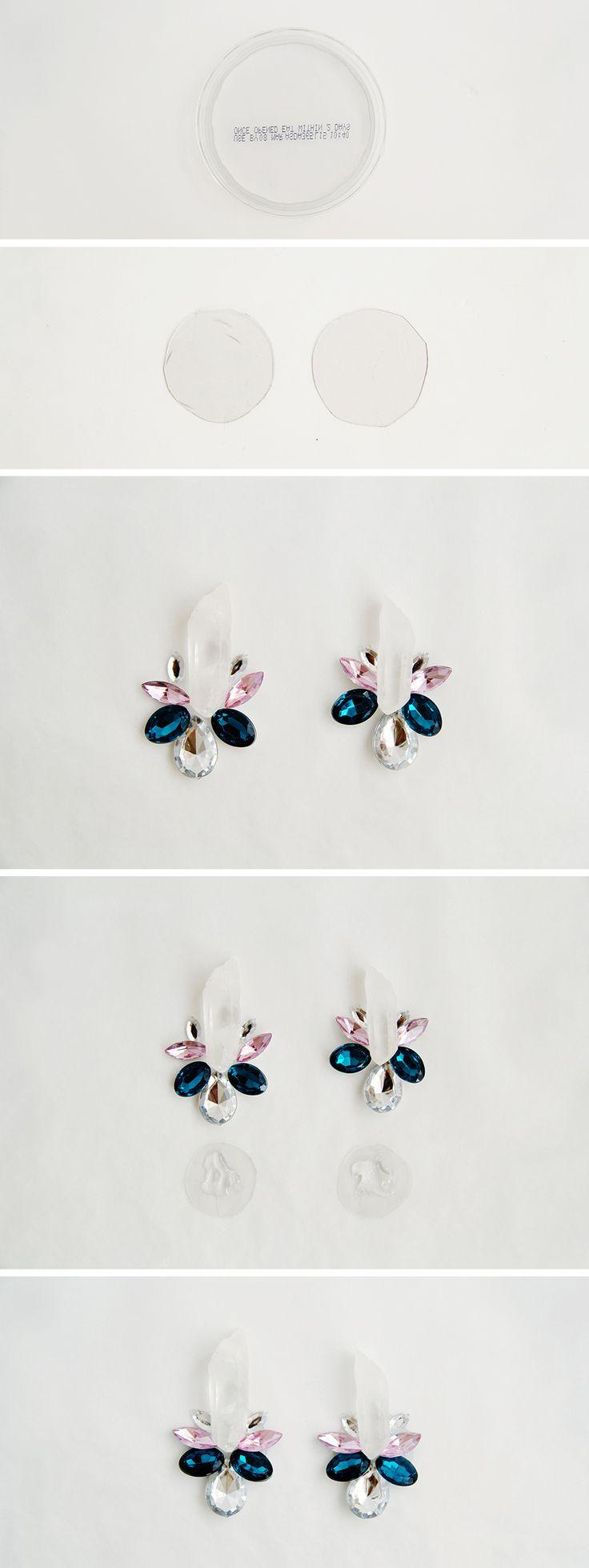 DIY Quartz Stone & Rhinestone Earrings | Fall For DIY