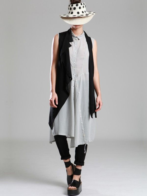 VEST MADE OF VISCOSE-LYCRA ON FRONT AND TENCEL-CUPRO ON THE BACK - JACKETS, JUMPSUITS, DRESSES, TROUSERS, SKIRTS, JERSEY, KNITWEAR, ACCESORIES - Woman -