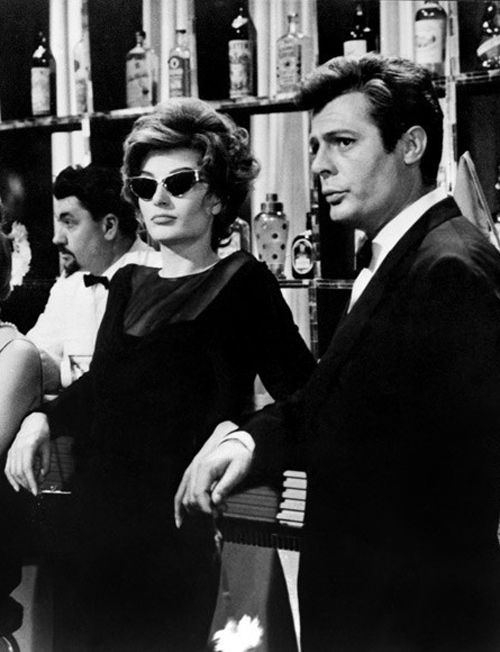 Anouk Aimee and Marcello Mastroianni in La Dolce Vita (Federico Fellini, 1960) via laviearose