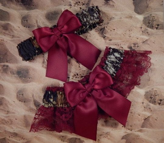 Snow Camo Camouflage Burgundy Wine Ribbon Lace Bridal Wedding Garter Set Toss by jbconaway on Etsy