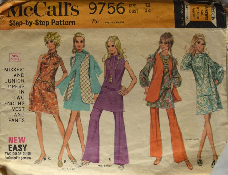 "1960's McCalls Dress, Vest and One-Piece Dress Pattern, Vest and Pants, Bell Bottoms Pattern, Mini Dress Pattern,Bust 34"" - No. 9756 by BuffaloGalVintage on Etsy"