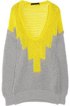 hand-knitted stretch-cotton open knit sweater by alexander wang - net-a-porter
