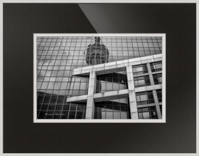 """Reflections"" by Michael McClure, Burlington // This image of the CBC building in downtown Toronto was taken during a snowstorm and is flecked with large falling snowflakes.You are welcome to pick and choose your own print size, frame, matte, and glass. And don't forget you can even order a print alone or a canvass wrap. // Imagekind.com -- Buy stunning fine art prints, framed prints and canvas prints directly from independent working artists and photographers."