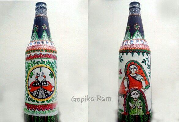 Altered bottle - Madubani art
