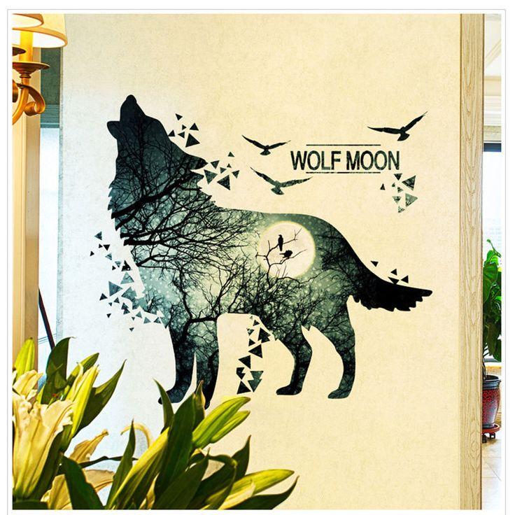 Wolf Moon DIY Wall Stickers PVC Waterproof Poster Decor