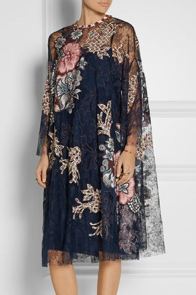Biyan | Levia embellished appliquéd lace dress | NET-A-PORTER.COM