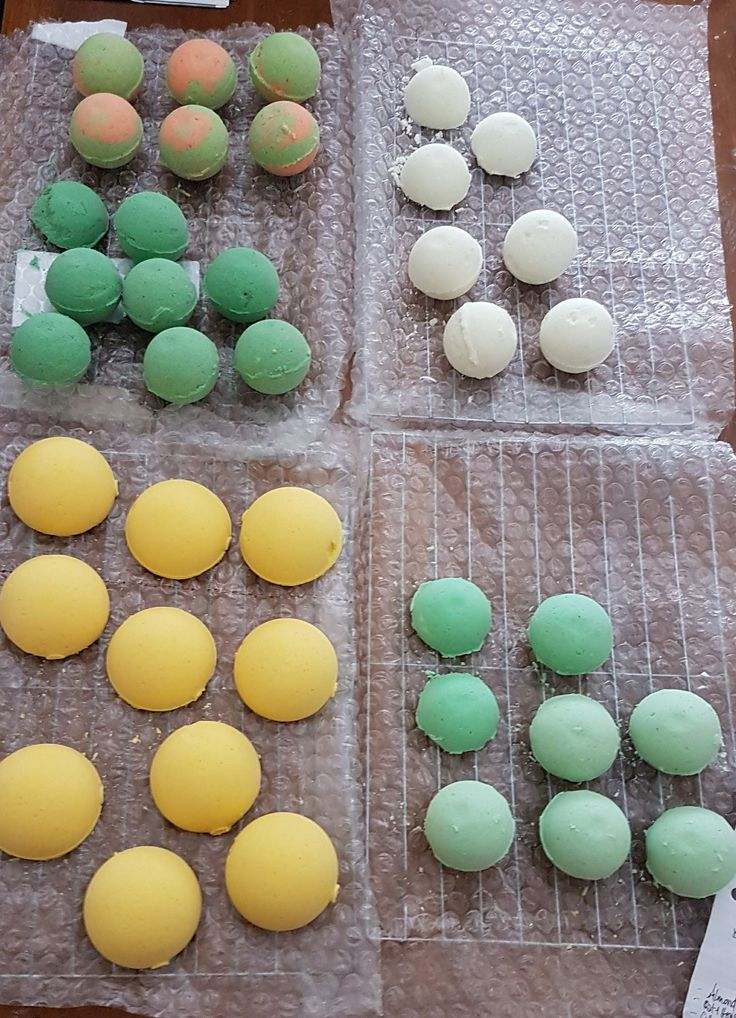 making bath fizzies ... Patchouli (top left) Lemon grass (dark green) Lavender and lemon ( bottom left)  Almond (top right) Margarita lime (bottom right)