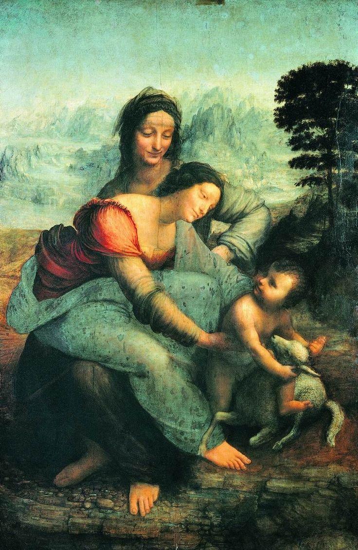 Живопись Леонардо да Винчи (1452-1519).Святая Анна с Девой Марией и младенцем Христом