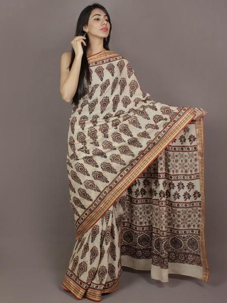 Ivoru Maroon Indigo Mughal Nakashi Ajrakh Hand Block Printed in Natural Vegetable Colors Cotton Mul Saree - S031701122