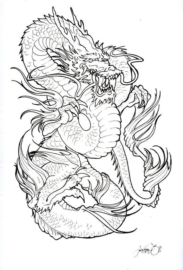 Japanese Tattoo Line Drawing : Best dragon tattoo stencils images on pinterest
