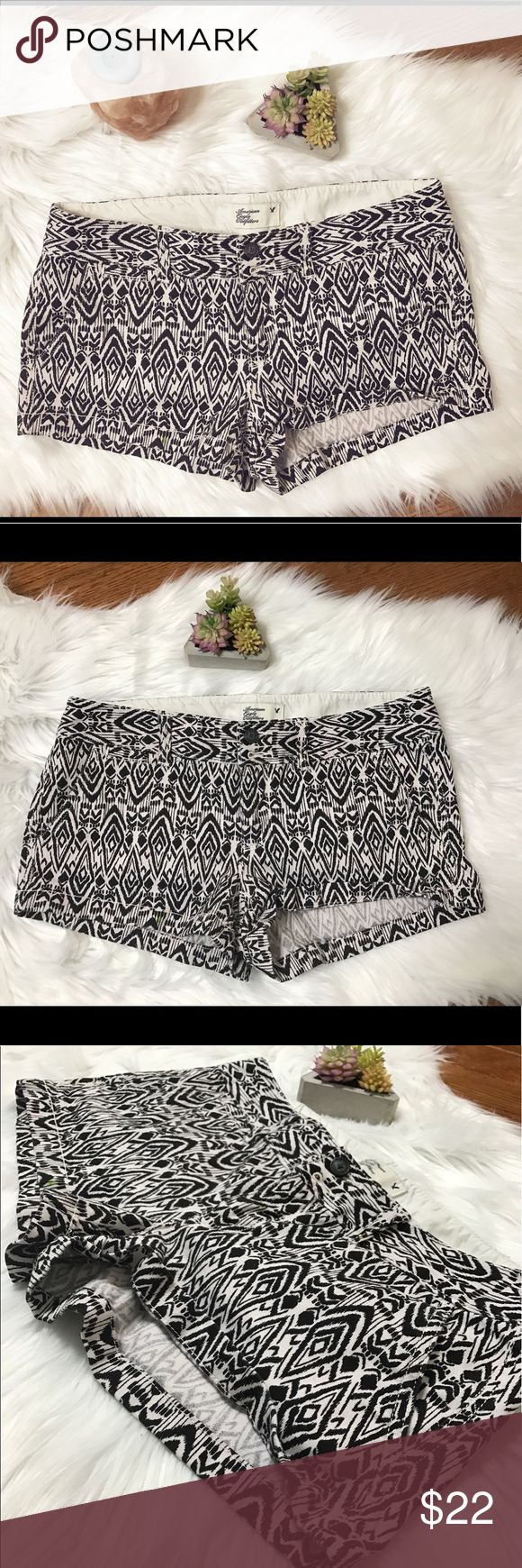American Eagle Outfitters Boho Print Shorts These black & white Boho tribal shorts are super cute and fun for summer! They are stretchy and comfortable. They are very short. I painted in these shorts so I showed in 2 pictures where there are 2 green dots from the paint. They are barely noticeable. These are gently worn. Size 4. American Eagle Outfitters Shorts Jean Shorts