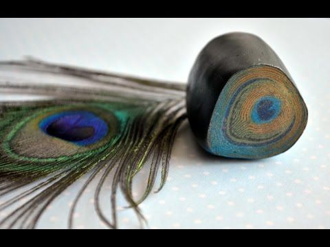 ▶ Cane peacock feather from polymer clay - YouTube | Трость Перо павлина из полимерной глины