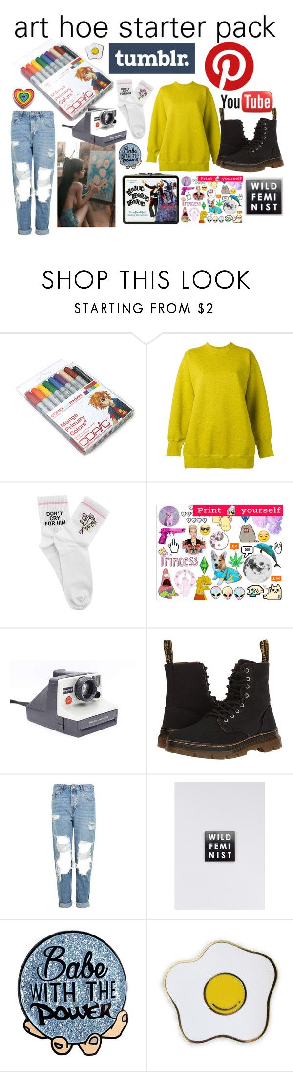 """""""art hoe starter pack"""" by petshopgirl45 on Polyvore featuring Ports 1961, Yeah Bunny, Polaroid, Dr. Martens, Topshop, Wildfang and Laser Kitten"""