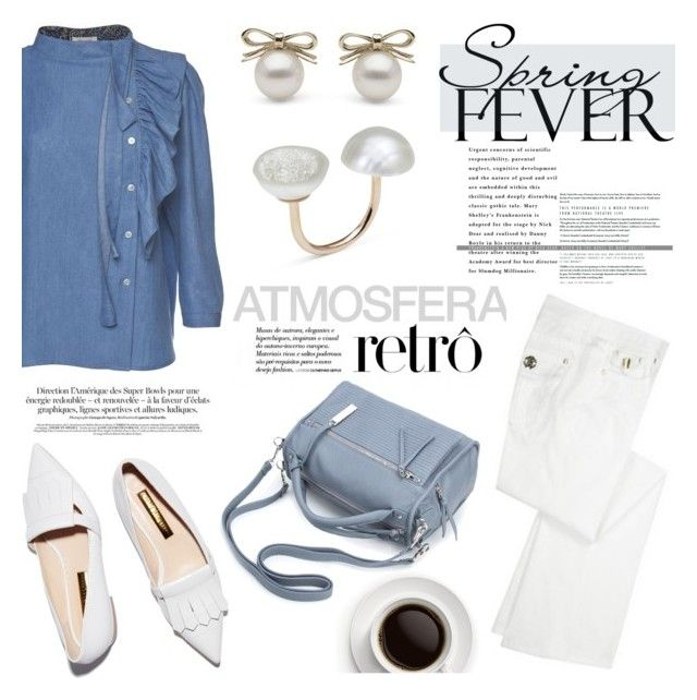 """""""Spring fever"""" by littlehjewelry ❤ liked on Polyvore featuring Roberto Cavalli, Rupert Sanderson, ruffles, contestentry, pearljewelry, spring2016 and littlehjewelry"""
