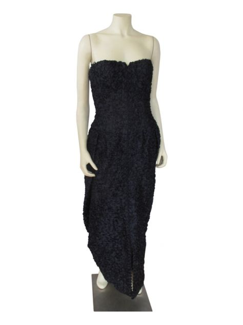 A Victor Edelstein And Lucienne Phillips Navy Strapless Gown | LH Exchange