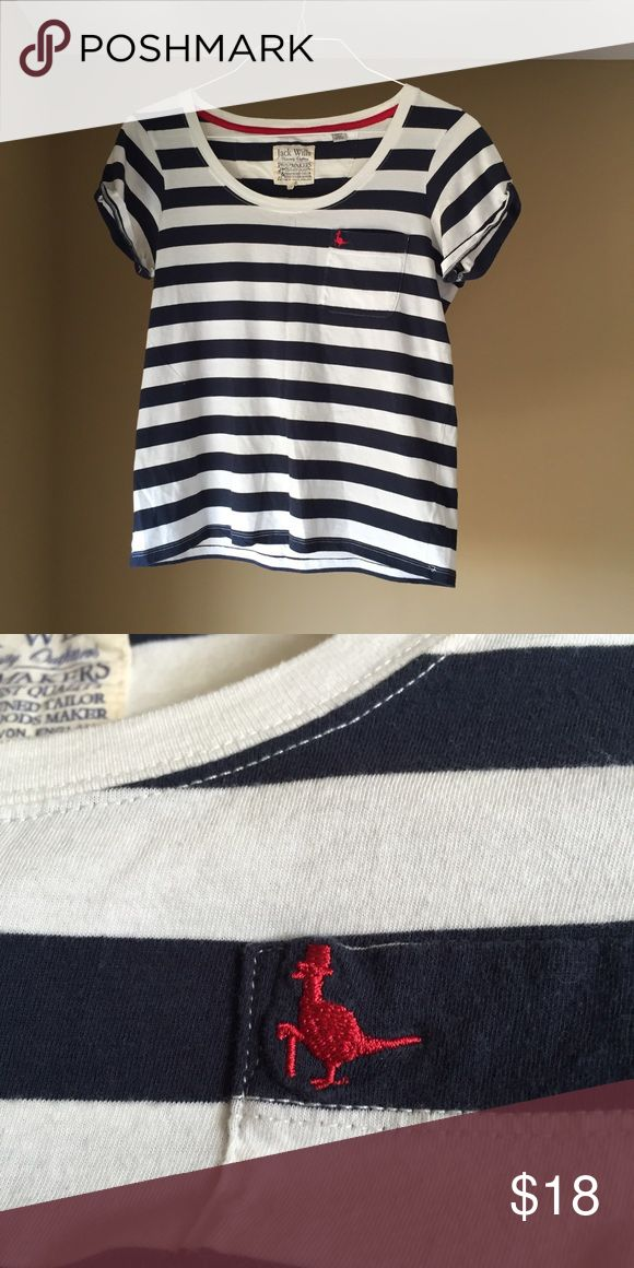 Jack Wills Blue and White Striped T Shirt T Shirt / JACK WILLS / US 4 / Navy Blue and White Striped  / Used <5 Times Preppy and trendy navy blue and white striped Jack Wills T Shirt with iconic red Jack Wills pheasant logo.  Perfect to wear with white jeans in the summer.  Fits slightly loose on me (xs) and hits slightly above hips; tag reads US 4 but would fit XS, S, and possibly M.  Feel free to make me an offer; for a discount, just ask to bundle with other items for a discount, or make…