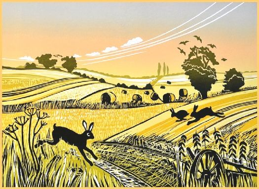 Hares in the Stubble - Linocut by Rob Barnes