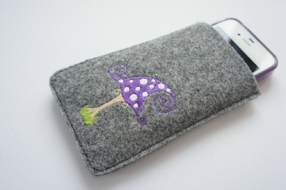 grey wool felt mobile case