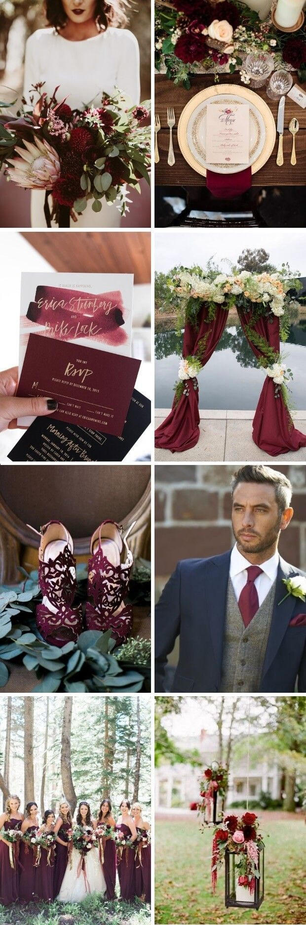 A Magical Maroon, Gold & Navy Palette for an Elegant Autumn or Winter Wedding. #maroon #marsala #burgundy #greenery #gothic