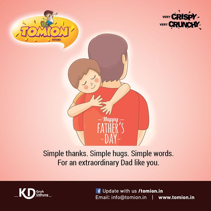 Simple Thanks. Simple Hugs. Simple words for an extraordinary Dad like you. #Tomion #Happy #FahtersDay #Wishes #fryums #Celebration