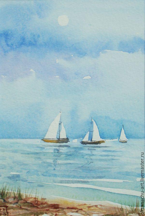 Купить Яхты под луной - голубой, море, яхты, картина в кабинет, белый парус, парусник