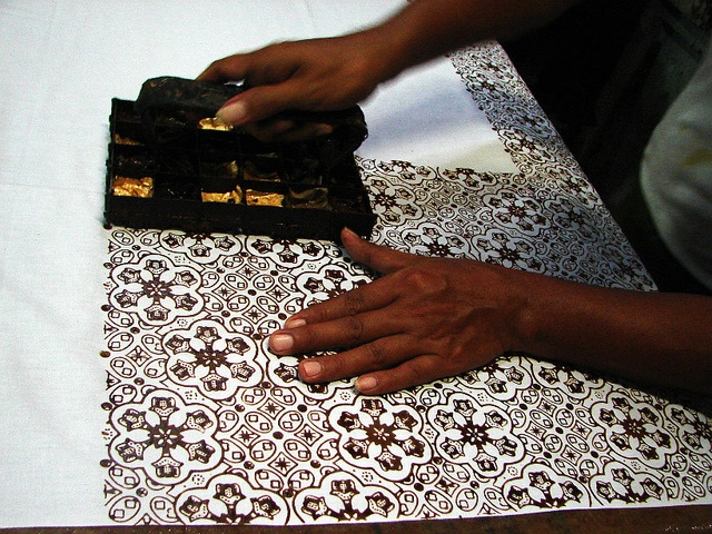 Stamping #batik, one of the methods to make batik in Indonesia