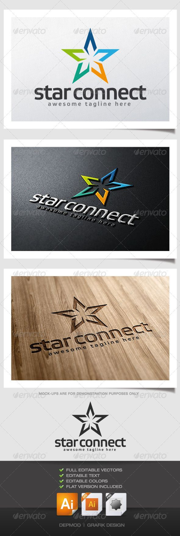 Star Connect Logo #GraphicRiver Logo of a stylized colorful star. Can be used for many kind of project. Full vectors, this logo can be easily resize and colors can be changed to fit your colors project. Flat (black) version for print also included. The font used is in a download file in the package. Font : .fontpark /en/font/elektra-medium-pro/ Files provided : .ai (CS6 and CS), .eps, .jpg, .png (transparent) Created: 16May13 GraphicsFilesIncluded: TransparentPNG #JPGImage #VectorEPS…