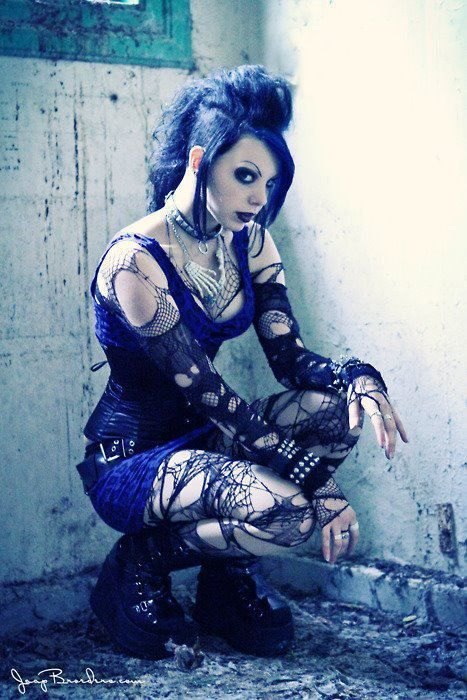 Goth Punk girl with great mesh, spider lace layers