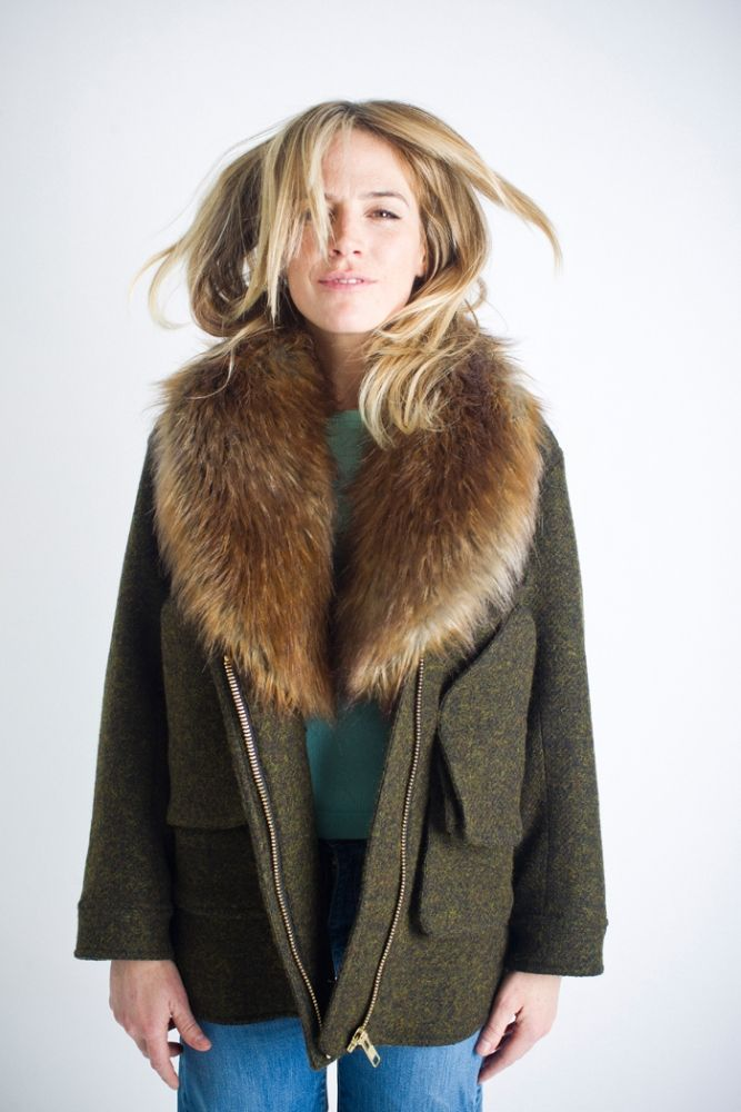 Flak Jacket with Detachable Faux Fur Collar in Loden with Fox Collar