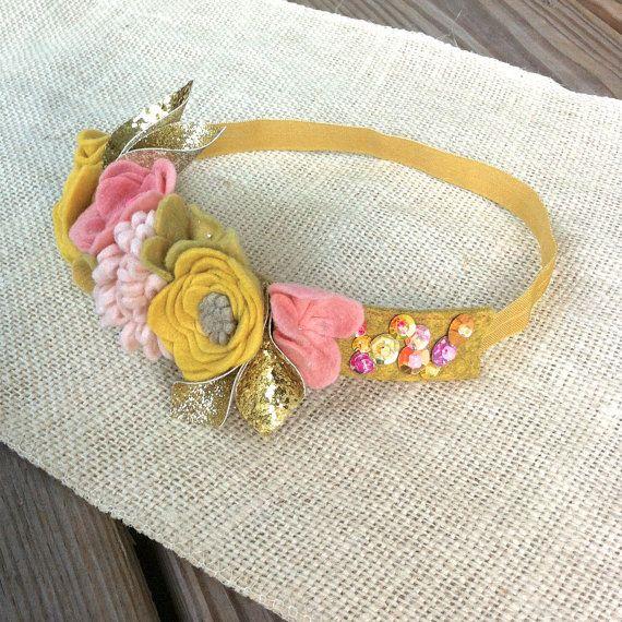 Felt Flower Mini Crown // Pink Yellow  Glitter by fancyfreefinery, $23.50