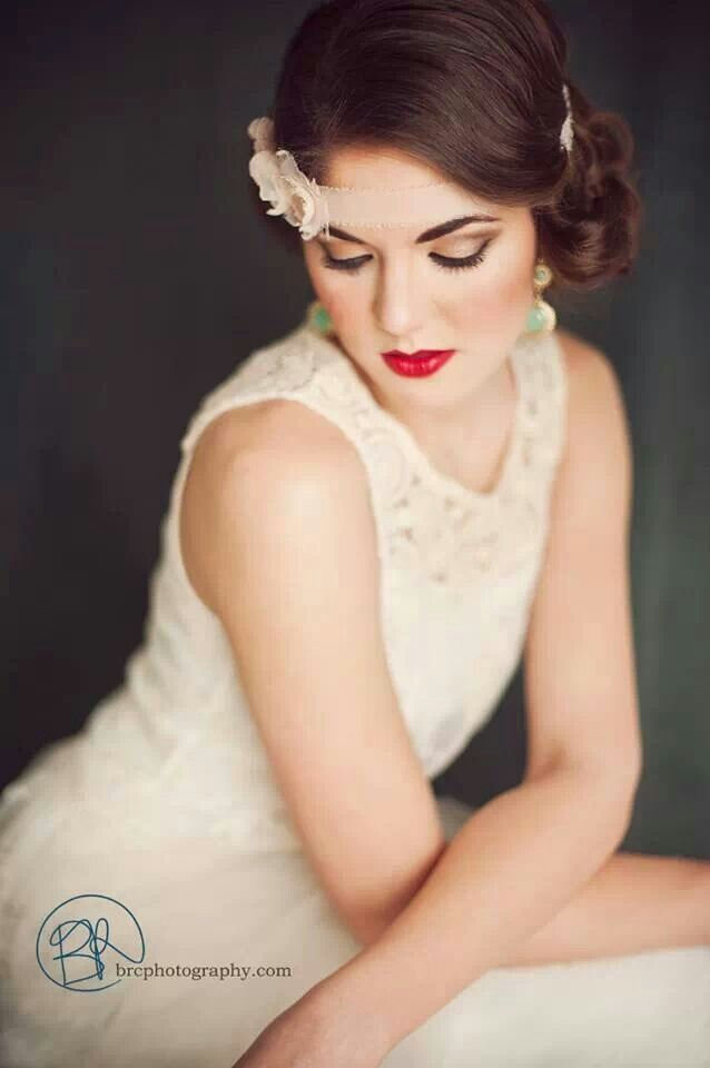 20s glam hair makeup, red lips with curls. Vintage, gatsby, 1920, 1930   ©BRC Photography
