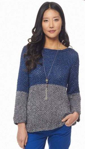 """This chic free knit sweater pattern is perfect for fall and winter. Make your Favorite Fashion Sweater in two complimentary colors for a lasting design that's as fashionable as it is practical."""
