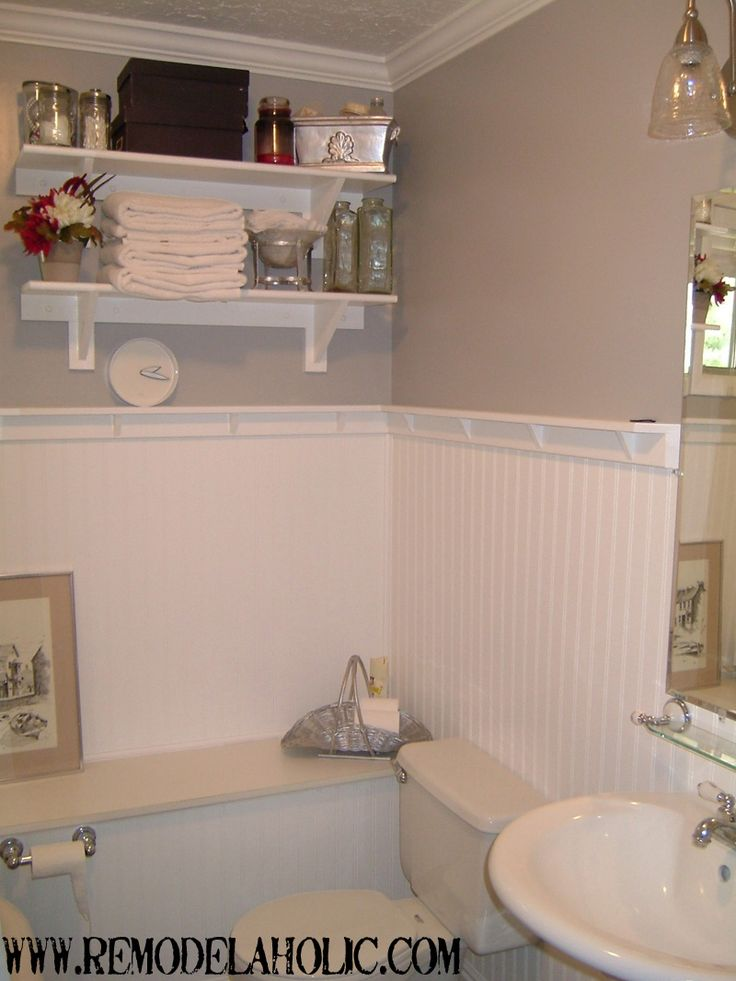 Beadboard wainscoting with ledge remodelaholic do it for Bathroom wainscoting ideas