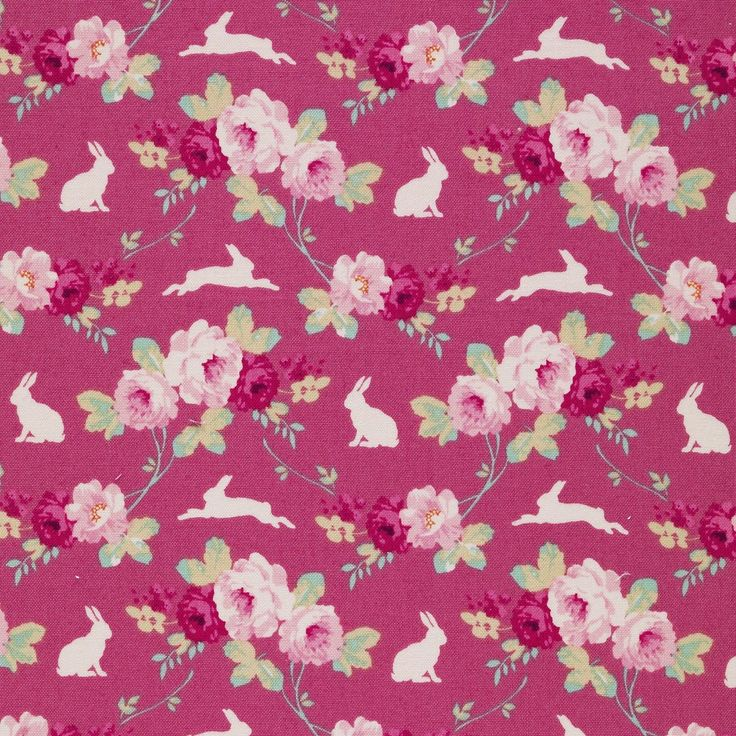 Tilda Cabbage Rose - Rabbit & Roses Pink £4 http://www.thehomemakery.co.uk/new-in/tilda-cabbage-rose-rabbit-roses-pink